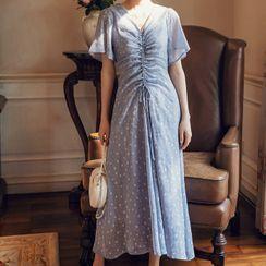 Meatacci - Flower Print Drawstring Short-Sleeve Midi Shift Dress