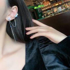 DREN - Rhinestone Flower Chained Earring