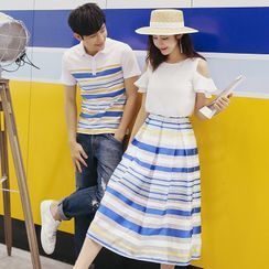NoonSun - Couple Matching Striped Short-Sleeve Polo Shirt / A-Line Dress