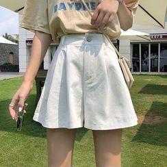 Omolon - High Waist Wide-Leg Shorts / Sweatshorts