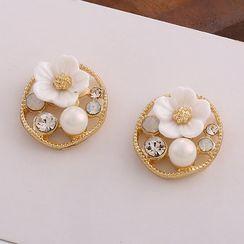 Noverkski - 925 Sterling Silver Rhinestone Faux Pearl Flower Stud Earring