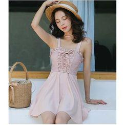 Jumei - Lace Up Swim Dress