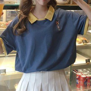 Juku Girls - Two-Tone Short-Sleeve Polo Shirt