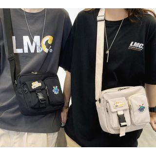 Gokk - Plain Multi-Section Nylon Crossbody Bag