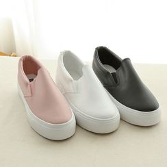 CLICK - Platform Faux-Leather Sneakers