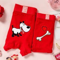 Pancherry - Couple Matching Set: Printed Panties + Boxer Briefs