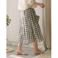 GOROKE - Band-Waist Plaid Skirt