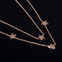 Tenri(テンリ) - Star Stainless Steel Layered Necklace