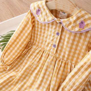 貝殼童裝 - 小童長袖格子連衣裙