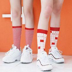 Jansi - 三雙裝:印花襪子