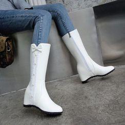 佳美 - 仿珍珠蝴蝶结内增高中筒靴