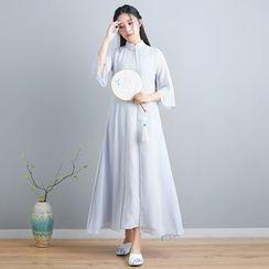 Celeste - 中袖A字中长旗袍