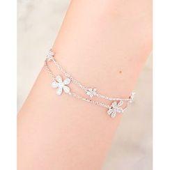 Miss21 Korea - Rhinestone-Flower Charm Chain Bracelet