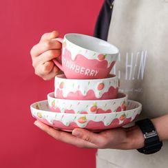 川岛屋 - 草莓印花陶瓷碗 / 盘子 / 水杯