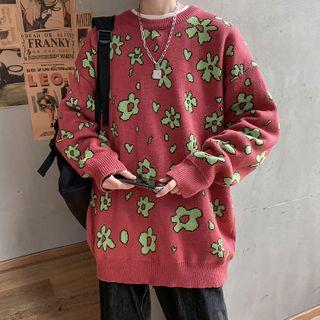 Sherina - Long-Sleeve Floral Printed Knit Top