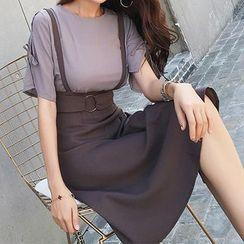 Solaria - Set: Bell-Sleeve Top + Suspender Midi A-Line Skirt