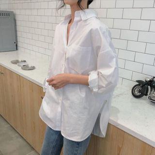 KAKAGA - 长袖纯色衬衫