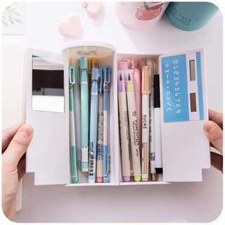 Momoi - Printed Pencil Cylinder Case With Calculator & Mirror