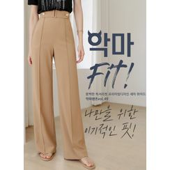 Styleonme(スタイルオンミー) - Belted Button-Detail Wide-Leg Pants