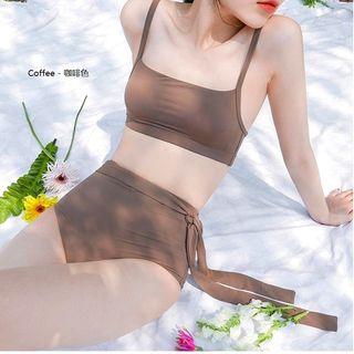 Roseate - Plain High-Waist Bikini Set