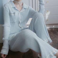 Ifish House - 家居服套装: 配色边开衫 + 家居裤