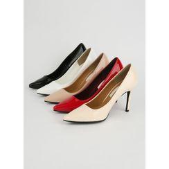 Styleonme - Pointy-Toe Patent Stilettos in 2 Designs
