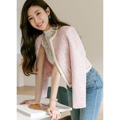 Styleonme(スタイルオンミー) - Piped Pastel-Tweed Cropped Jacket