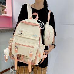 Novila(ノビラ) - Two-Tone Buckled Nylon Backpack / Sling Bag / Set