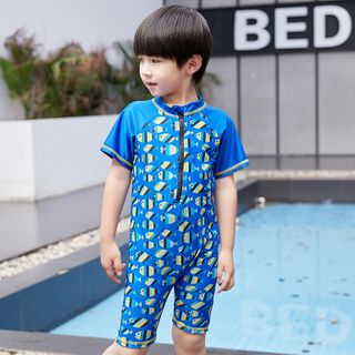Aqua Wave - Kids Printed Short-Sleeve Rashguard  / Swim Goggles / Ear Plugs / Nose Clip / Drawstring Organizer Bag / Swim Cap / Set