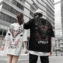 Macho - Couple Matching Elbow-Sleeve Deer Print T-Shirt