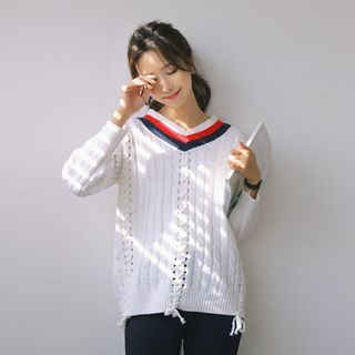 JUSTONE - V-Neck Lace-Up Trim Cable-Knit Top