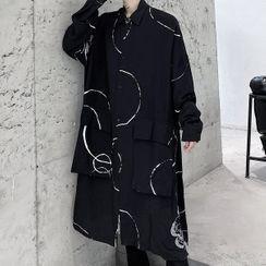 Bjorn - Geometry Printed Front Pocket Oversized Long-Sleeve Shirt