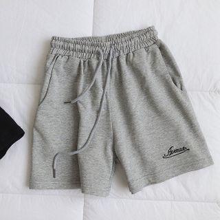 mochigome - Drawstring-Waist Letter Embroidered Wide-Leg Shorts