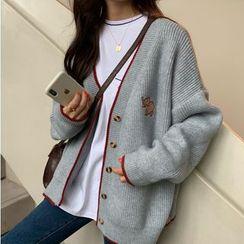 Fabricino - Elephant Embroidery Cardigan