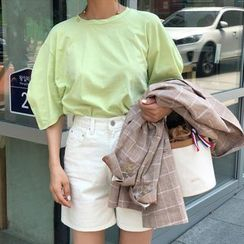 ssongbyssong - Round-Neck Puff-Sleeve T-Shirt