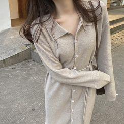 Yaonee - Button Long-Sleeve Midi Knit  Dress