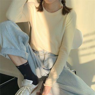 Alfie - Long-Sleeve Plain Cropped Knit Top