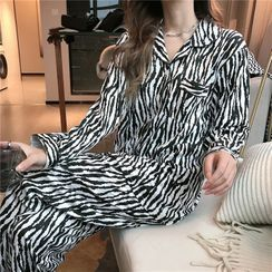 Tanee - Pajama Set: Long-Sleeve Zebra Print Top + Pants