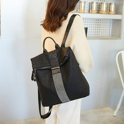 cococow - Faux Leather Flap Zip Backpack