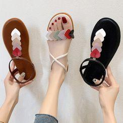 SouthBay Shoes - Heart Applique Sandals