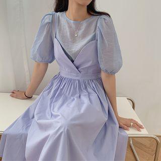 Coris - Set: Short-Sleeve Top + Strappy Midi A-Line Dress