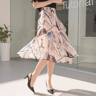 CLICK - Band-Waist Pleated Patterned Skirt