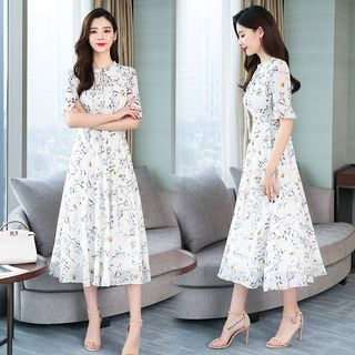 Glaypio - Floral Print Short-Sleeve A-Line Chiffon Dress