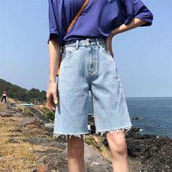 Denimot - Frayed Hem Wide-Leg Denim Shorts