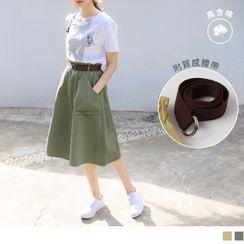 OrangeBear - High-Waist Frilled Trim Midi Skirt