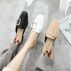 kokoin - Buckled Faux Leather Low Heel Mules