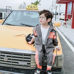 Pinty - 小童套裝: 字母連帽拉鏈外套 + 運動褲