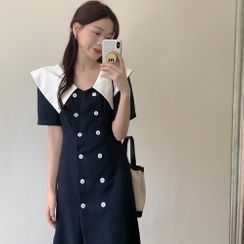 Windcatcher - Short-Sleeve Collared Double Breasted Dress