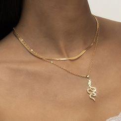 Seirios - Snake Rhinestone Pendant Layered Necklace