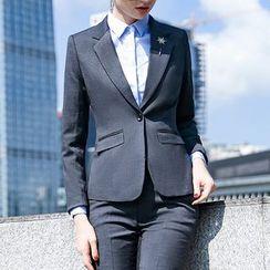 Princess Min - Couple Matching Slim Fit Blazer/ Dress Pants/ Single-Breasted Vest/ Mini Pencil Skirt/ Long-Sleeve Shirt